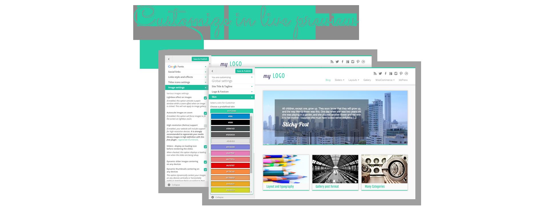 Mange utseende og designmuligheter er tilgjengelig fra WordPress-tilpassingsskjermen : Se endringene dine i sanntid!